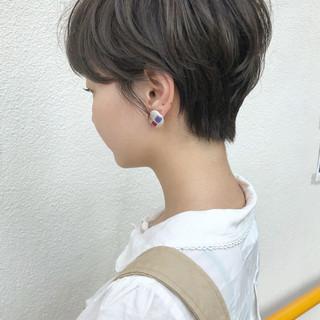 ハイライト 小顔 ショート ナチュラル ヘアスタイルや髪型の写真・画像