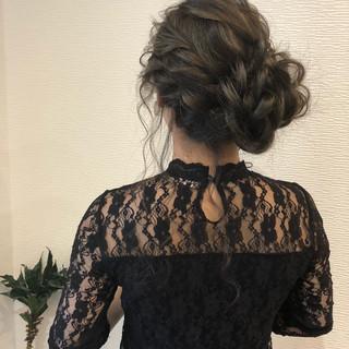 ヘアアレンジ フェミニン 結婚式 セミロング ヘアスタイルや髪型の写真・画像