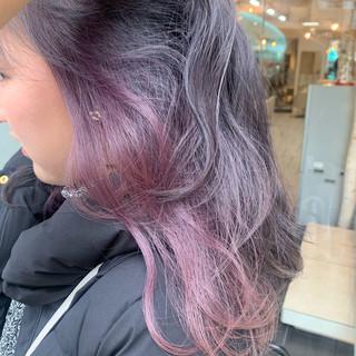 春色 ラベンダーピンク 艶カラー ミディアム ヘアスタイルや髪型の写真・画像
