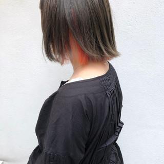 ボブ ショートヘア ナチュラル インナーカラー ヘアスタイルや髪型の写真・画像