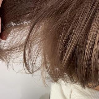 ボブ ミルクティーグレージュ ミルクティーベージュ ガーリー ヘアスタイルや髪型の写真・画像