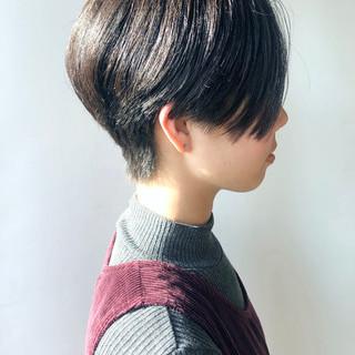 黒髪 ショートボブ モード ハンサムショート ヘアスタイルや髪型の写真・画像