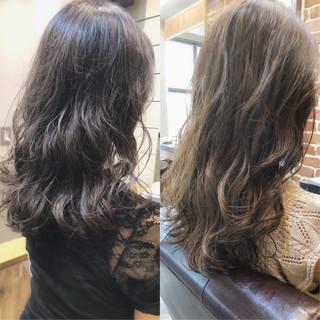 デジタルパーマ ゆるふわパーマ アンニュイほつれヘア セミロング ヘアスタイルや髪型の写真・画像
