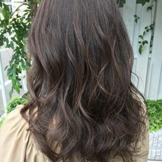 ハイライト ブランジュ グレージュ セミロング ヘアスタイルや髪型の写真・画像