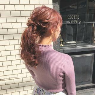 エレガント 大人かわいい ポニーテール セミロング ヘアスタイルや髪型の写真・画像