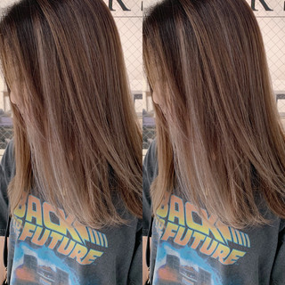セミロング ヘアアレンジ アウトドア ナチュラル ヘアスタイルや髪型の写真・画像