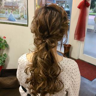 ポニーテール ロング ナチュラル ヘアアレンジ ヘアスタイルや髪型の写真・画像