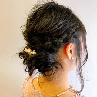 ミディアム 簡単ヘアアレンジ フェミニン ショートヘア ヘアスタイルや髪型の写真・画像