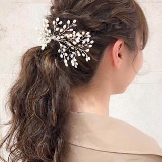 ガーリー ハイライト 結婚式 デザインカラー ヘアスタイルや髪型の写真・画像