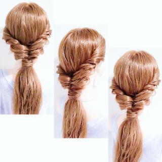 セルフアレンジ フェミニン ロング ヘアアレンジ ヘアスタイルや髪型の写真・画像