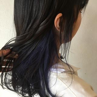 インナーカラー ネイビー コリアンネイビー ネイビーアッシュ ヘアスタイルや髪型の写真・画像