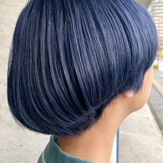 ネイビーカラー ネイビー ナチュラル ネイビーブルー ヘアスタイルや髪型の写真・画像