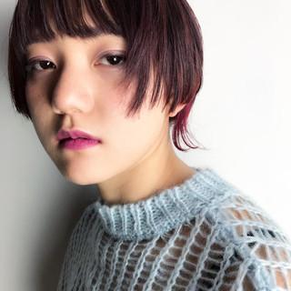 ショート ガーリー ボブ ピンク ヘアスタイルや髪型の写真・画像