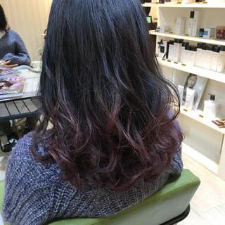 黒髪 バイオレット ブリーチ トリートメント ヘアスタイルや髪型の写真・画像