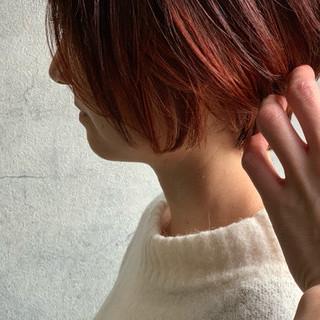 ショート ベリーショート インナーカラー ショートボブ ヘアスタイルや髪型の写真・画像