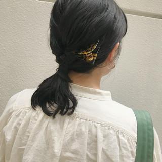 ミディアム ヘアアレンジ セルフヘアアレンジ ポニーテールアレンジ ヘアスタイルや髪型の写真・画像