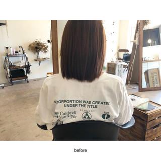 切りっぱなしボブ ミルクティー ナチュラル ミルクティーブラウン ヘアスタイルや髪型の写真・画像