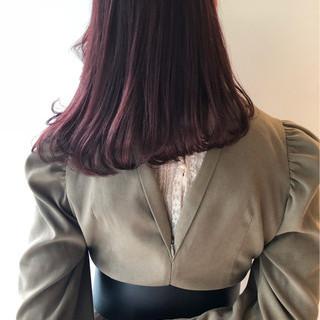 ミディアム ピンクブラウン ラベンダーピンク 透明感 ヘアスタイルや髪型の写真・画像