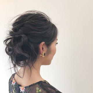 ミディアム ハイライト 結婚式 簡単ヘアアレンジ ヘアスタイルや髪型の写真・画像