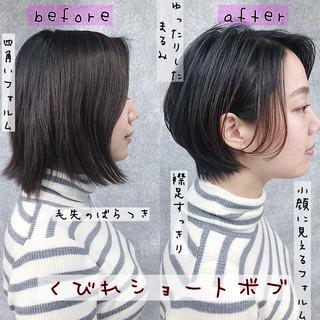 銀座美容室 耳掛けショート ナチュラル 黒髪 ヘアスタイルや髪型の写真・画像