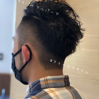 メンズヘア メンズカット スパイラルパーマ フェードカット ヘアスタイルや髪型の写真・画像