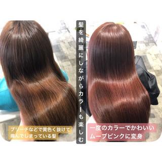大人かわいい ピンクブラウン 髪質改善カラー ロング ヘアスタイルや髪型の写真・画像