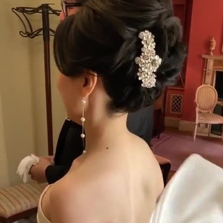 結婚式髪型 セミロング エレガント おしゃれさんと繋がりたい ヘアスタイルや髪型の写真・画像