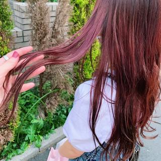 ロング ゆるナチュラル ピンクラベンダー フェミニン ヘアスタイルや髪型の写真・画像