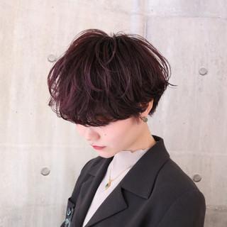 アンニュイほつれヘア マッシュショート ナチュラル ラベンダーピンク ヘアスタイルや髪型の写真・画像 ヘアスタイルや髪型の写真・画像