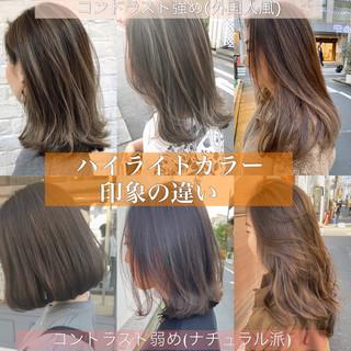 ミニボブ ナチュラル インナーカラー ハイライト ヘアスタイルや髪型の写真・画像