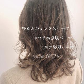 パーマ ゆるふわパーマ ヘアスタイル ナチュラル ヘアスタイルや髪型の写真・画像