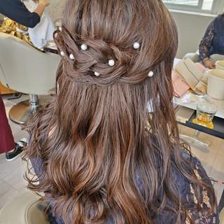 結婚式ヘアアレンジ ヘアセット ロング ハーフアップ ヘアスタイルや髪型の写真・画像