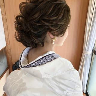 セミロング 結婚式髪型 結婚式ヘアアレンジ エレガント ヘアスタイルや髪型の写真・画像