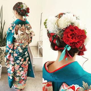 フェミニン 簡単ヘアアレンジ デート 成人式 ヘアスタイルや髪型の写真・画像