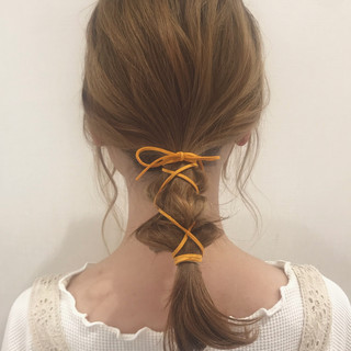 ヘアアレンジ 簡単ヘアアレンジ ミルクティーアッシュ ナチュラル ヘアスタイルや髪型の写真・画像