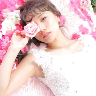 編みおろしヘア 結婚式ヘアアレンジ ヘアアレンジ エレガント ヘアスタイルや髪型の写真・画像