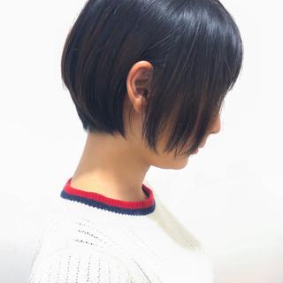 ショートボブ 黒髪 オフィス ショート ヘアスタイルや髪型の写真・画像