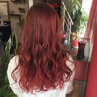 ガーリー セミロング ダブルカラー ラベンダーピンク ヘアスタイルや髪型の写真・画像