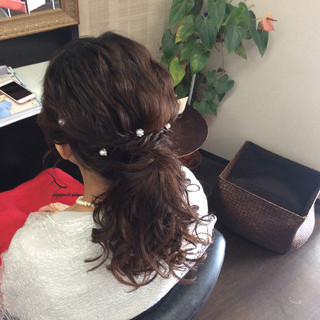 ナチュラル ヘアアレンジ 簡単ヘアアレンジ セミロング ヘアスタイルや髪型の写真・画像 ヘアスタイルや髪型の写真・画像