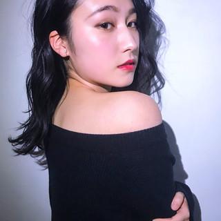 艶髪 デート フェミニン セミロング ヘアスタイルや髪型の写真・画像