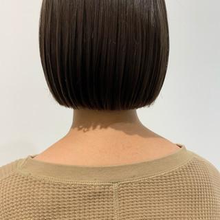切りっぱなしボブ 簡単スタイリング ミニボブ ナチュラル ヘアスタイルや髪型の写真・画像