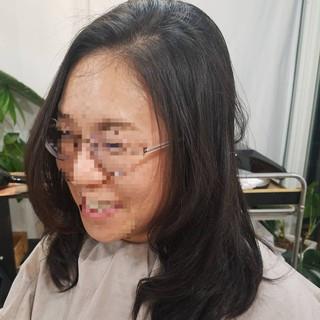 ガーリー 黒髪 デジタルパーマ 縮毛矯正名古屋市 ヘアスタイルや髪型の写真・画像