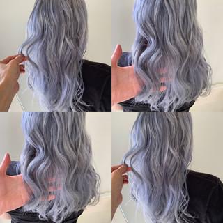 ナチュラル ホワイト ハイトーンカラー セミロング ヘアスタイルや髪型の写真・画像