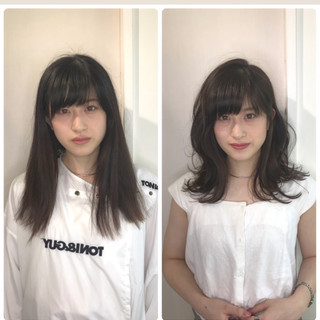 ナチュラル 外国人風 ミディアム ハイライト ヘアスタイルや髪型の写真・画像