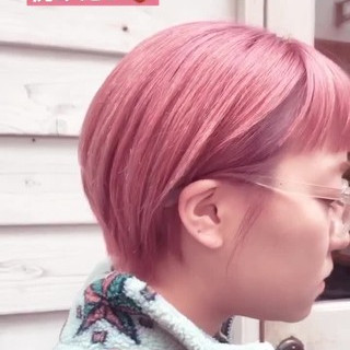 ベリーピンク ストリート ショートヘア ラベンダーピンク ヘアスタイルや髪型の写真・画像