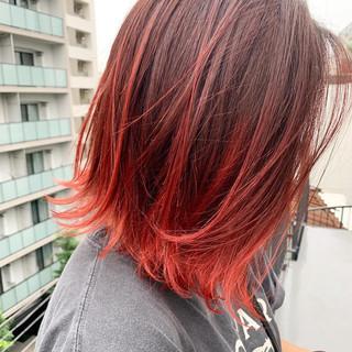 レッドカラー チェリーレッド 赤髪 カシスレッド ヘアスタイルや髪型の写真・画像