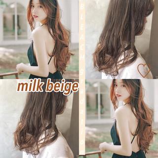 外国人風カラー 韓国ヘア 韓国 セミロング ヘアスタイルや髪型の写真・画像