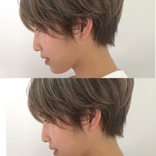 前下がりショート ベリーショート インナーカラー ショート ヘアスタイルや髪型の写真・画像
