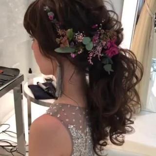 結婚式ヘアアレンジ 結婚式髪型 ヘアアレンジ フェミニン ヘアスタイルや髪型の写真・画像