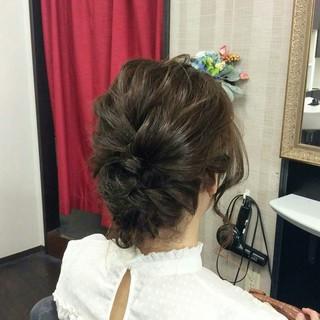 編み込み 上品 ミディアム エレガント ヘアスタイルや髪型の写真・画像